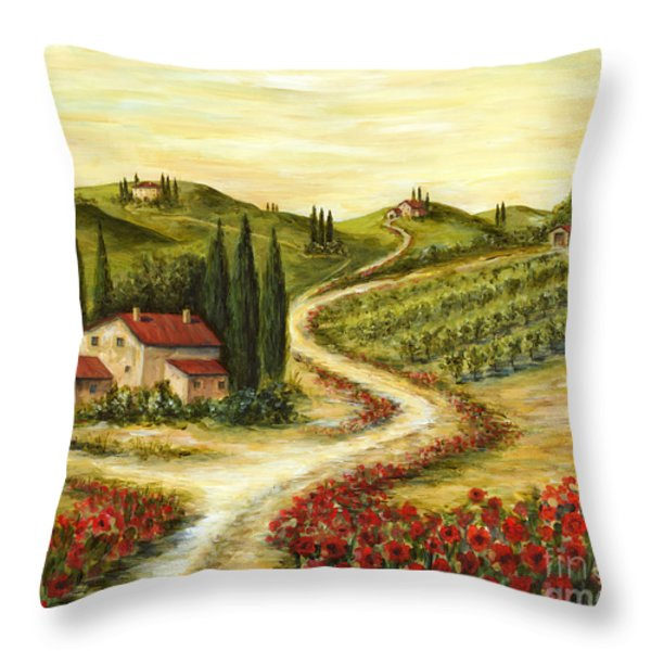 Tuscan Road With Poppies Throw Pillow by Marilyn Dunlap