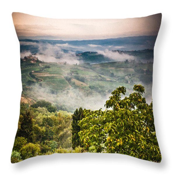 Tuscan view Throw Pillow by Silvia Ganora