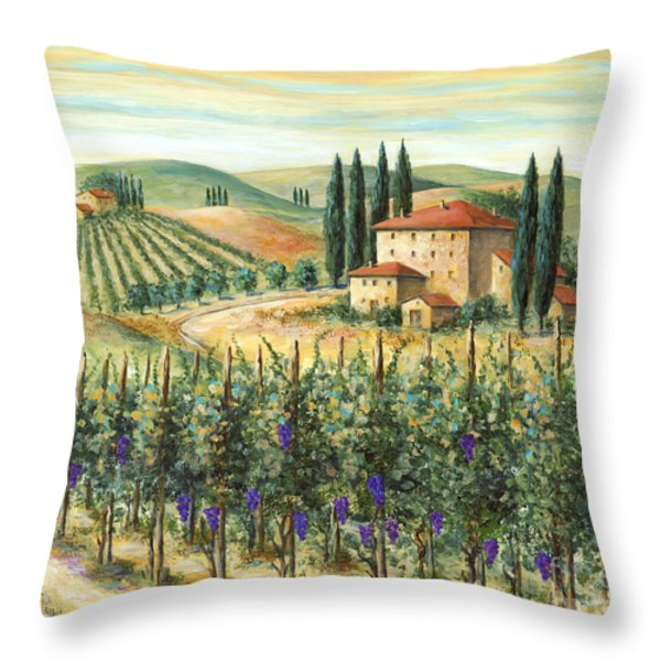 Tuscan Vineyard and Villa Throw Pillow by Marilyn Dunlap