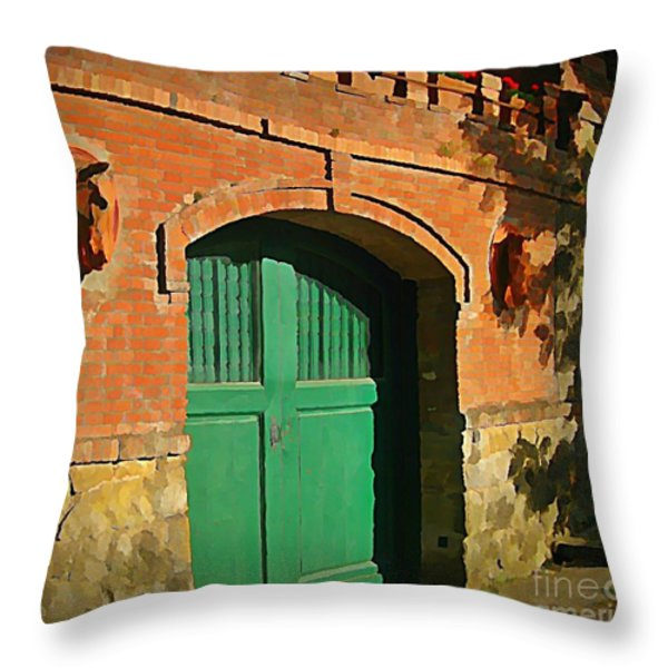 Tuscany Door With Horse Head Carvings Throw Pillow by John Malone