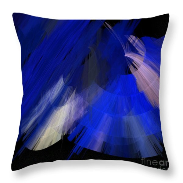 TuTu Stage Left Blue Abstract Throw Pillow by Andee Design