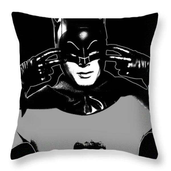 Tv Batman Adam West Throw Pillow by Tony Rubino