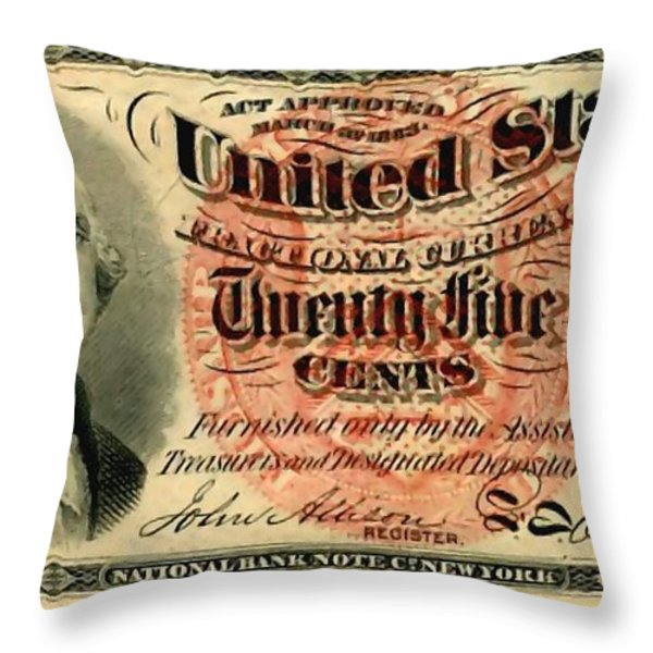 Twenty Five Cent 4th Issue U.s. Fractional Currency Fr 1302 Throw Pillow by Lanjee Chee
