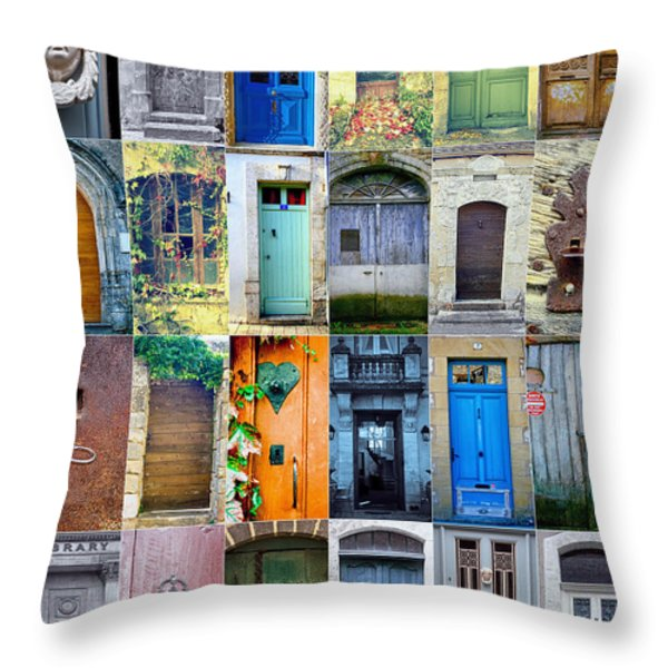 Twenty Four French Doors Collage Throw Pillow by Georgia Fowler