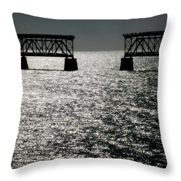 Twilgiht Railroad Throw Pillow by Karen Wiles