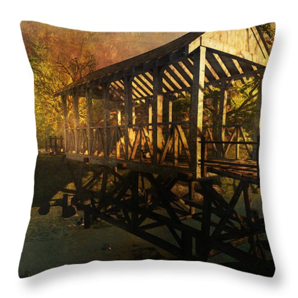 Twilight Bridge Throw Pillow by Kylie Sabra