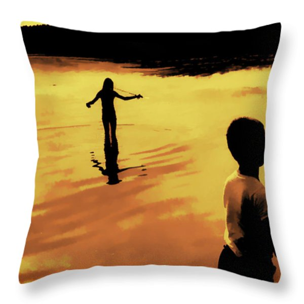 Twilight Fishing Throw Pillow by John Hansen