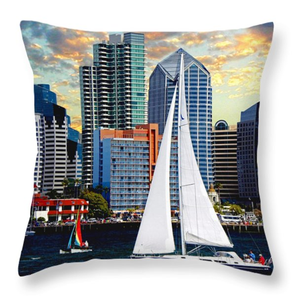 Twilight Harbor Curise1 Throw Pillow by Ronald Chambers