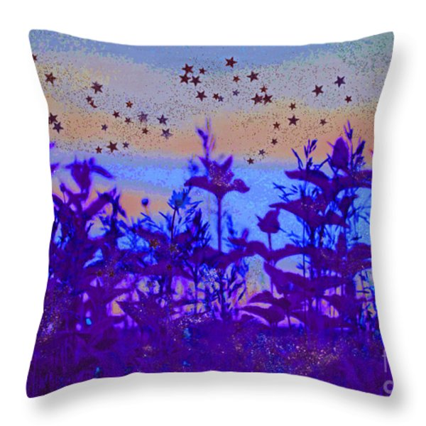 Twilight Meadow Magic Throw Pillow by First Star Art