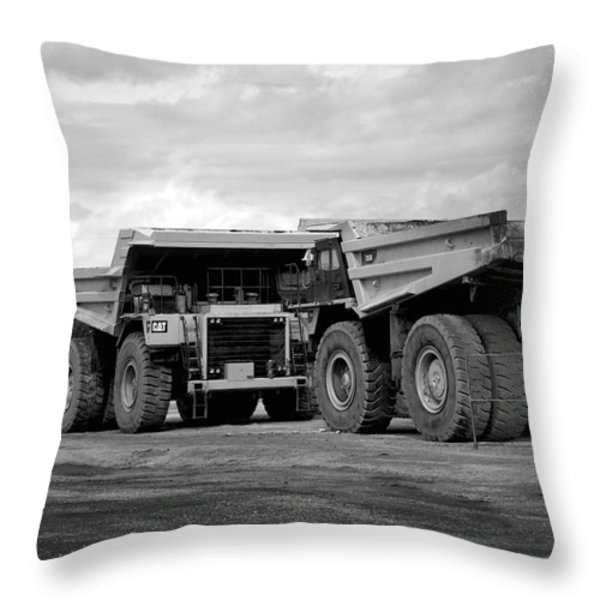 Twin Caterpillar Trucks Throw Pillow by Alanna DPhoto