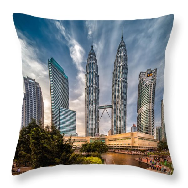 Twin Towers Kl Throw Pillow by Adrian Evans