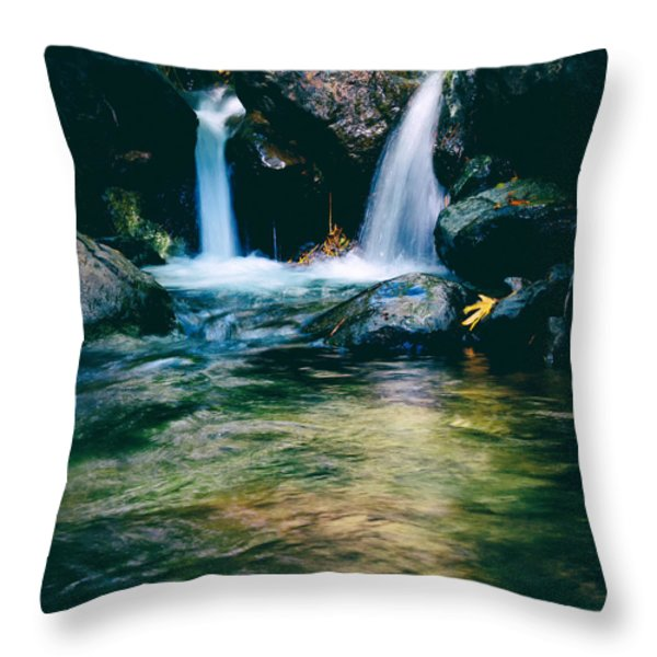 twin waterfall Throw Pillow by Stylianos Kleanthous