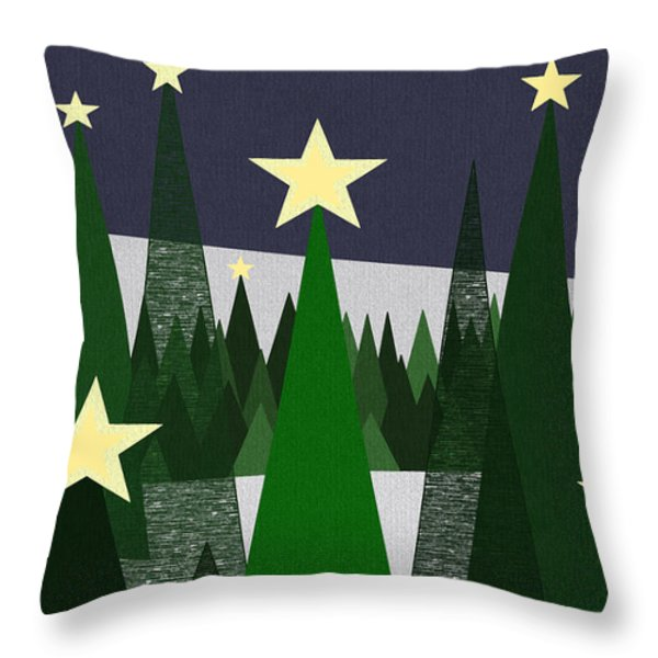 Twinkling Forest Throw Pillow by Val Arie