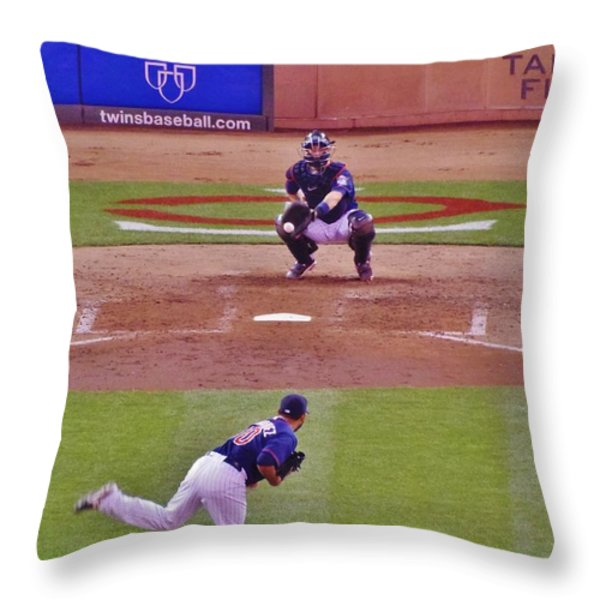 Twins Warm Up Throw Pillow by Todd and candice Dailey