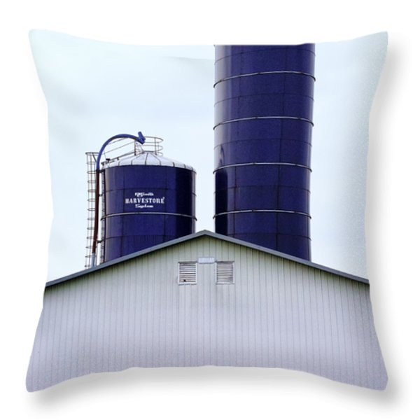 Two Blue Silos Throw Pillow by Christi Kraft