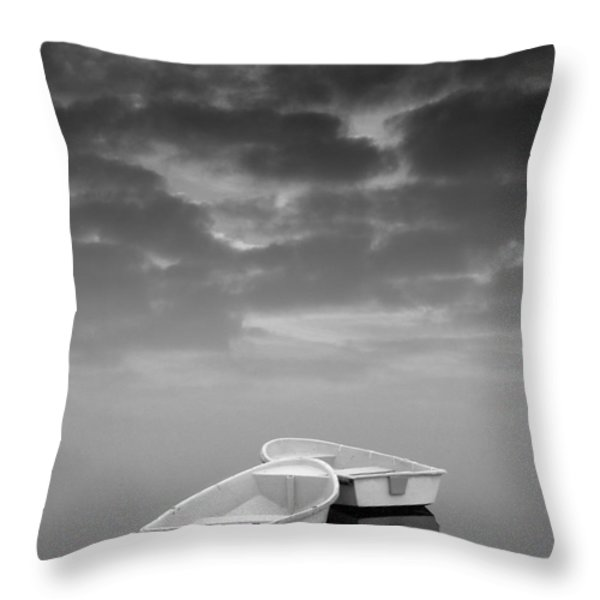 Two Boats And Clouds Throw Pillow by David Gordon
