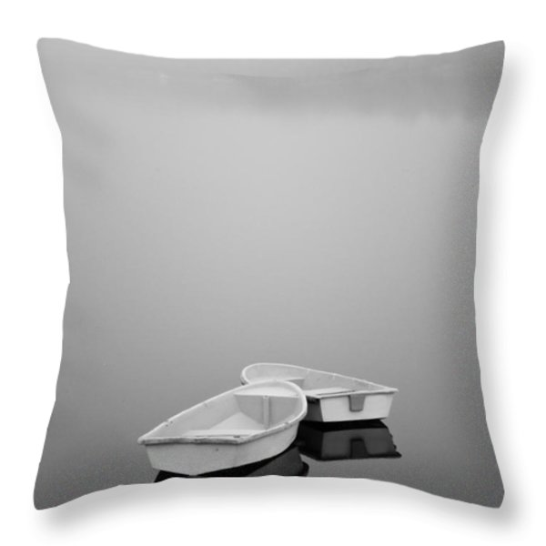 Two Boats and Fog Throw Pillow by Dave Gordon
