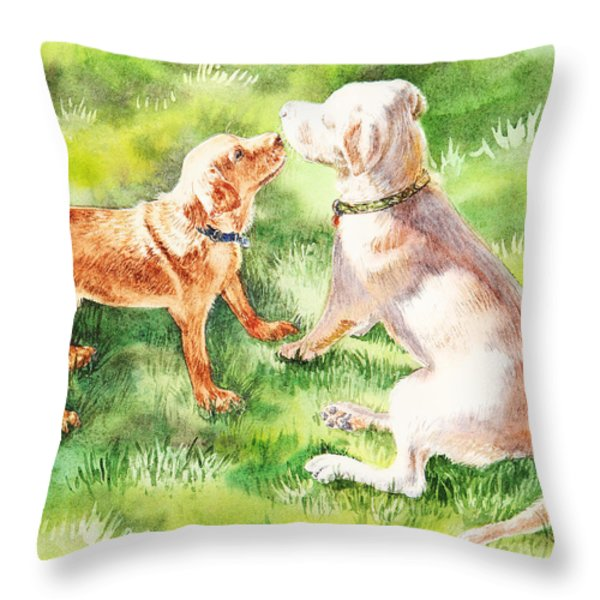 Two Brothers Labradors Throw Pillow by Irina Sztukowski