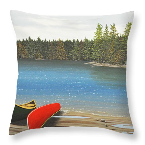 Two Canoes Throw Pillow by Kenneth M  Kirsch