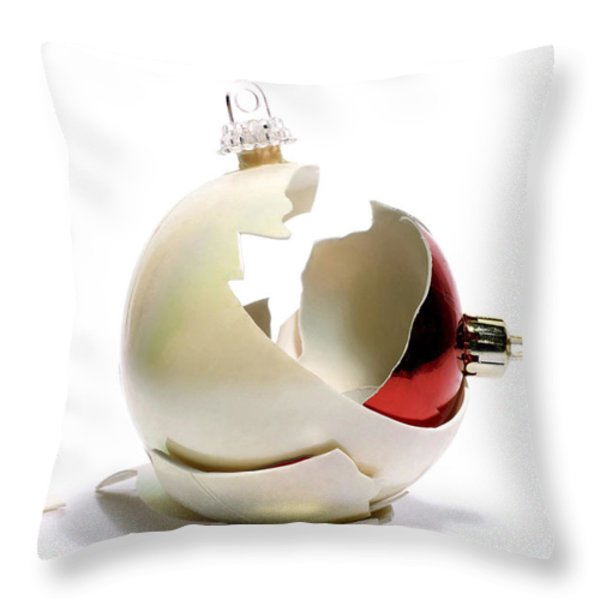 Two christmas ball Throw Pillow by BERNARD JAUBERT