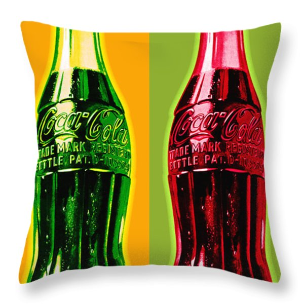 Two Coke Bottles Throw Pillow by Gary Grayson
