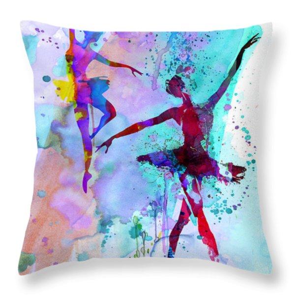 Two Dancing Ballerinas Watercolor 2 Throw Pillow by Naxart Studio