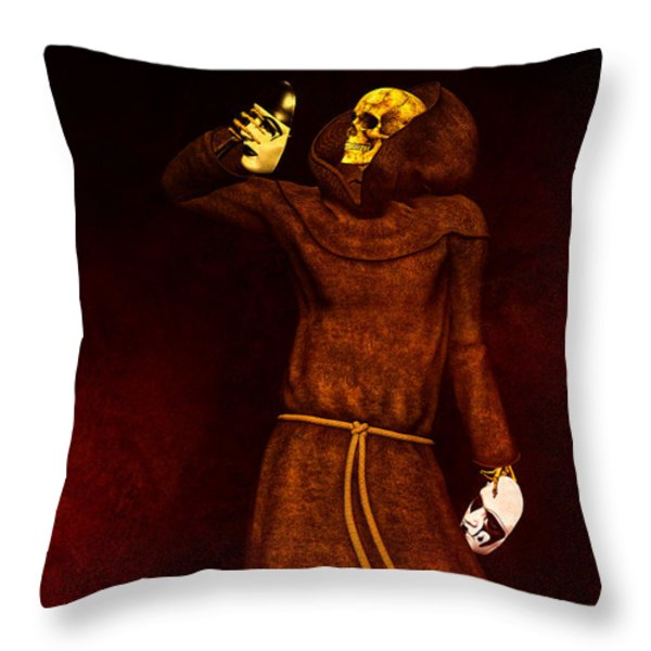 Two Faces of Death Throw Pillow by Bob Orsillo
