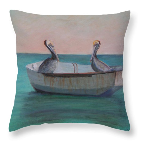 Two Friends In A Dinghy Throw Pillow by Patty Weeks