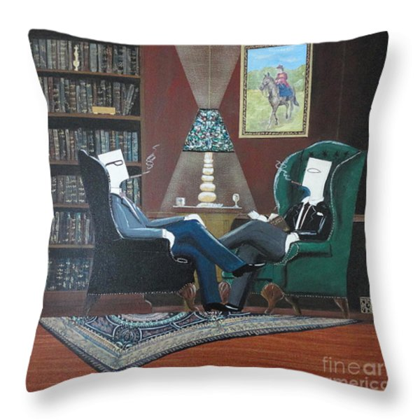 Two Gentlemen Sitting In Wingback Chairs At Private Club Throw Pillow by John Lyes