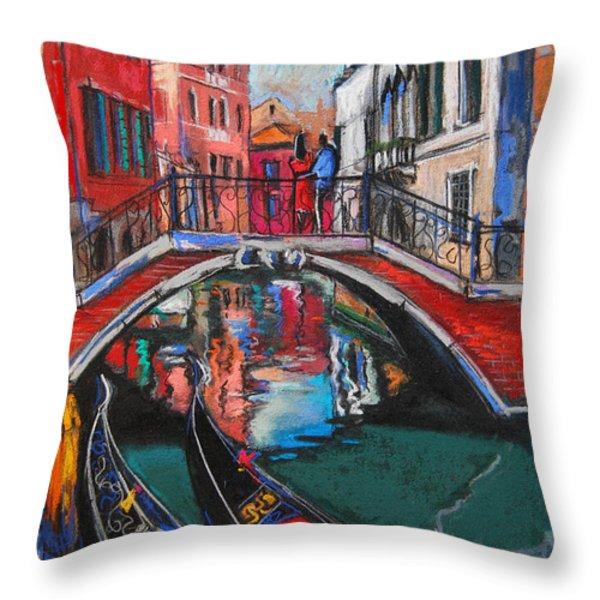 Two Gondolas In Venice Throw Pillow by Mona Edulesco