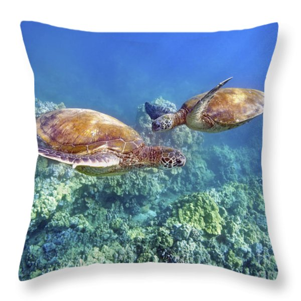 Two Green Turtles Throw Pillow by M Swiet Productions