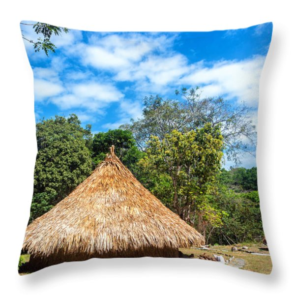 Two Indigenous Huts Throw Pillow by Jess Kraft