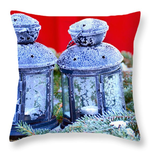 Two Lanterns Frozty Throw Pillow by Toppart Sweden