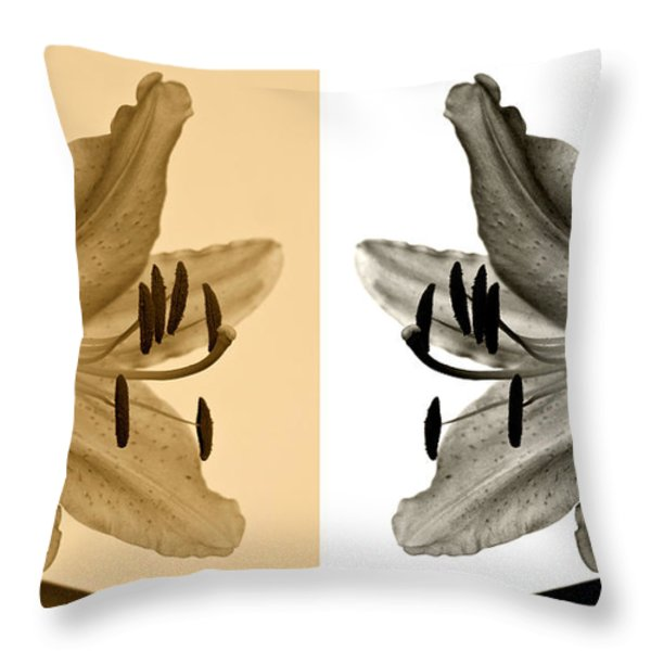 Two Lilies Throw Pillow by Sandy Keeton