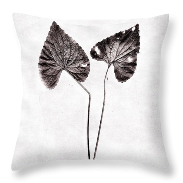 Two Little Violet Leaves Throw Pillow by Louise Kumpf