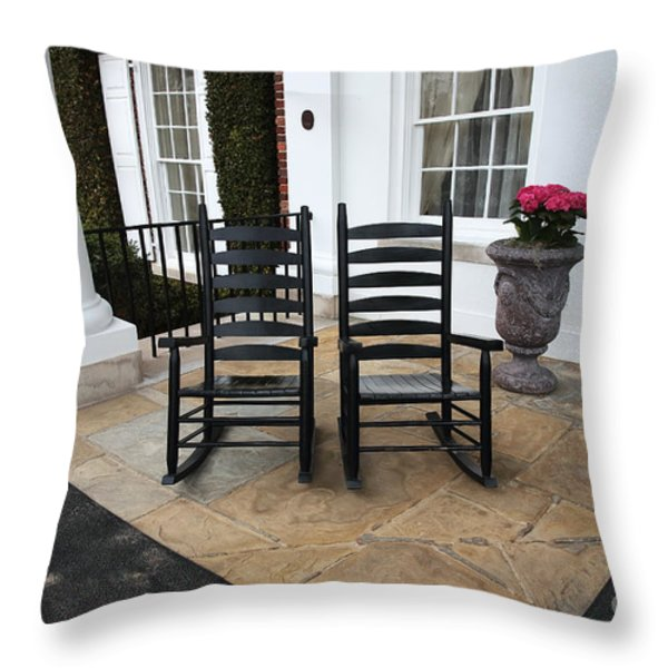 Two on the Porch Throw Pillow by John Rizzuto