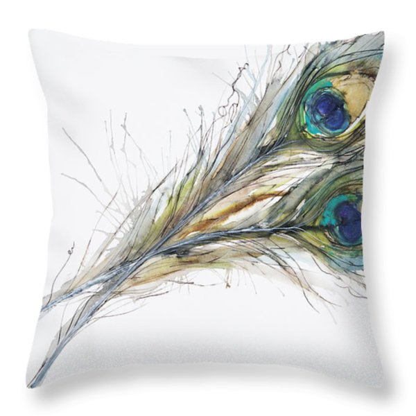 Two Peacock Feathers Throw Pillow by Tara Thelen