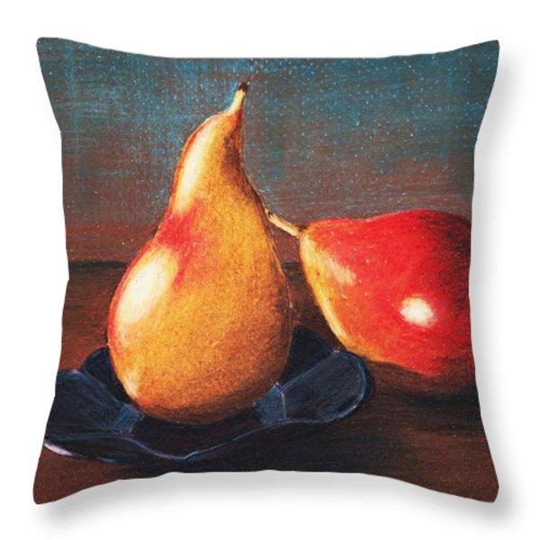Two Pears Throw Pillow by Anastasiya Malakhova