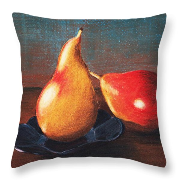 Two Pears Throw Pillow by Anastasiya Malakhova