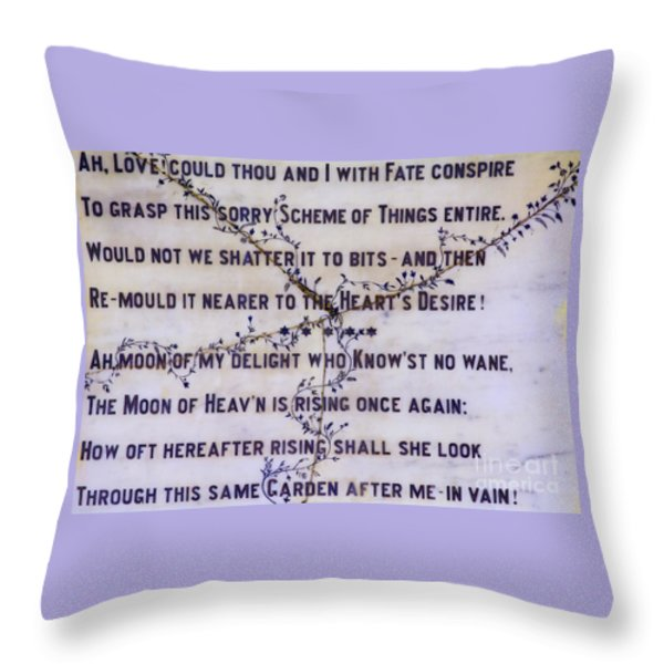 Two Poems on Marble Throw Pillow by Moira Rowe