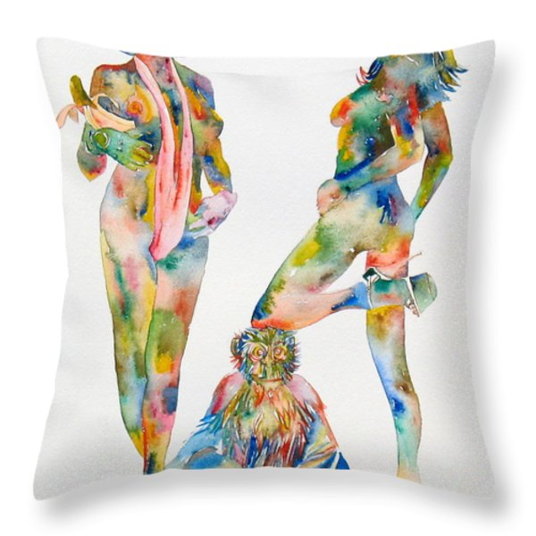 Two Psychedelic Girls With Chimp And Banana Portrait Throw Pillow by Fabrizio Cassetta