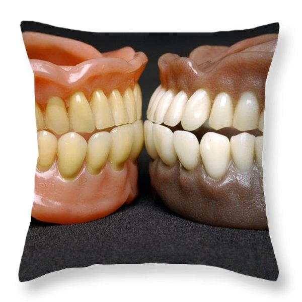 Two Sets Of Dentures Throw Pillow by Medicimage