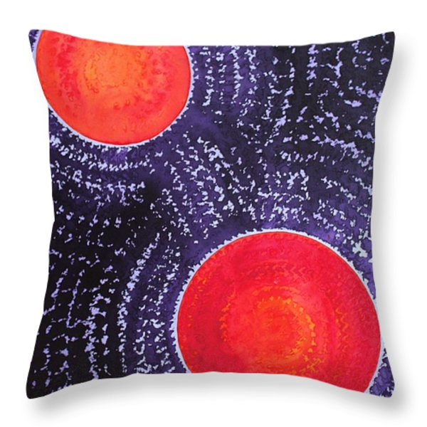 Two Suns Original Painting Throw Pillow by Sol Luckman