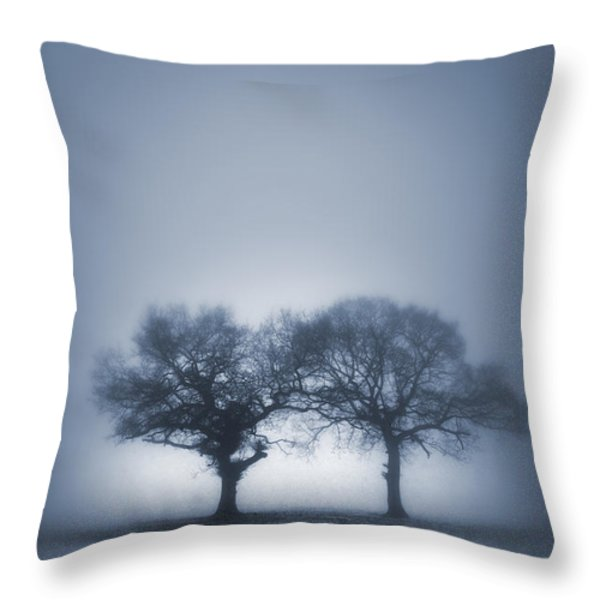 Two Trees In Blue Fog Throw Pillow by Lee Avison