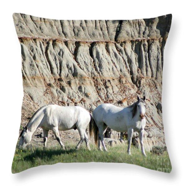 Two Wild White Stallions Throw Pillow by Sabrina L Ryan