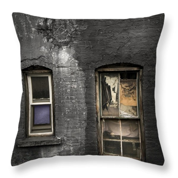Two Windows Old And New - Old Building In New York Chinatown Throw Pillow by Gary Heller