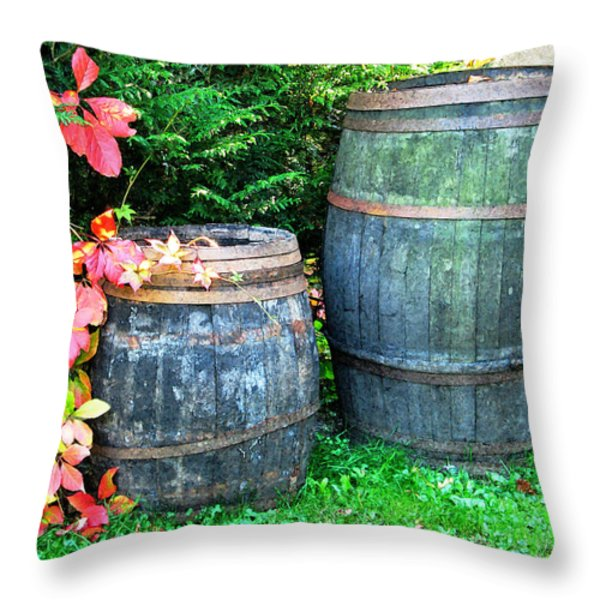 Two Wine Barrels And Red Ivy Digital Print Throw Pillow by Greg Matchick