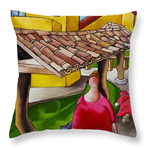 Two Women Under Tile Roof Throw Pillow by William Cain