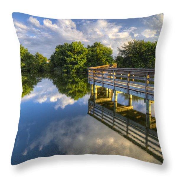 Two Worlds At Wakodahatchee Throw Pillow by Debra and Dave Vanderlaan