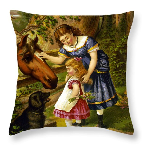Two Young Girls Throw Pillow by Unknown